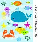 various underwater creatures  ... | Shutterstock . vector #59874517