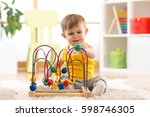 kid boy playing with... | Shutterstock . vector #598746305