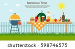 fruit with wine  barbecue grill ... | Shutterstock .eps vector #598746575