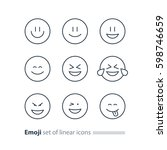 set of linear emoji icons ... | Shutterstock .eps vector #598746659