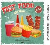 colorful retro vintage cartoon... | Shutterstock .eps vector #598746839