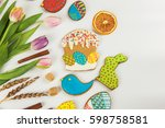 tulips and gingerbread cookies... | Shutterstock . vector #598758581