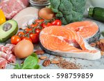 healthy eating food low carb... | Shutterstock . vector #598759859