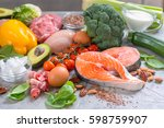 healthy eating food low carb... | Shutterstock . vector #598759907
