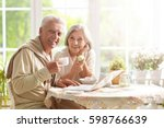 beautiful elderly couple having ... | Shutterstock . vector #598766639