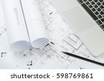 black pencil and computer... | Shutterstock . vector #598769861