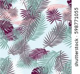 tropical summer leaves pattern | Shutterstock .eps vector #598771055