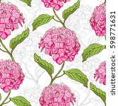 seamless vintage floral pattern ... | Shutterstock .eps vector #598771631