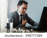 illness  stressed  tired ... | Shutterstock . vector #598777289