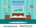 interior living room design... | Shutterstock .eps vector #598781225