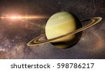 Planet Saturn In Front Of The...