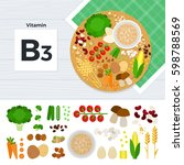vitamin b3 flat illustrations.... | Shutterstock . vector #598788569