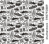 surfing seamless pattern. black ... | Shutterstock .eps vector #598792889