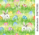 easter bunny with easter eggs... | Shutterstock . vector #598793381