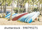 multicolored surfboards at... | Shutterstock . vector #598795271