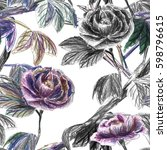 seamless floral pattern. colour ... | Shutterstock . vector #598796615