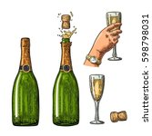 bottle of champagne explosion... | Shutterstock .eps vector #598798031