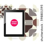 tablet pc icon with memphis... | Shutterstock .eps vector #598801595