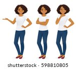 woman in jeans standing in... | Shutterstock .eps vector #598810805