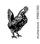 happy chicken   retro clip art