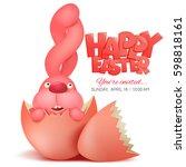 pink bunny in broken egg....   Shutterstock .eps vector #598818161