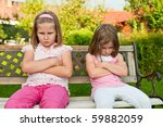Small Girls  Sisters  Siting O...