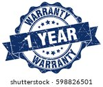 1 year warranty. stamp. sticker.... | Shutterstock .eps vector #598826501