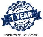 1 year warranty. stamp. sticker.... | Shutterstock .eps vector #598826501