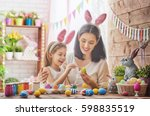 mother and her daughter... | Shutterstock . vector #598835519