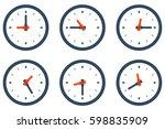 set of wall clock showing... | Shutterstock .eps vector #598835909