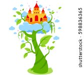 magic beanstalk and castle in...