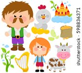 jack and the magic beanstalk... | Shutterstock .eps vector #598836371