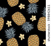 background with fresh exotic... | Shutterstock .eps vector #598842611