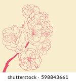 blossoming tree line art hand... | Shutterstock . vector #598843661