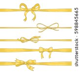 set of golden thin bows and... | Shutterstock .eps vector #598845665