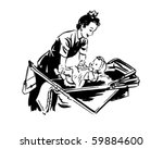 mom putting baby in pram  ...   Shutterstock .eps vector #59884600