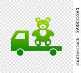 truck with bear. vector. green... | Shutterstock .eps vector #598855361
