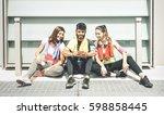 happy friends having a break... | Shutterstock . vector #598858445