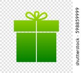 gift sign. vector. green...