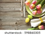 easter table setting with... | Shutterstock . vector #598860305