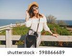 young beautiful stylish woman ... | Shutterstock . vector #598866689