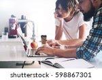 financial analytics are reading ...   Shutterstock . vector #598867301