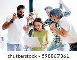 happy business people celebrate ... | Shutterstock . vector #598867361