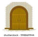 wooden door | Shutterstock .eps vector #598869944