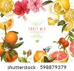 vector citrus mix banner with... | Shutterstock .eps vector #598879379