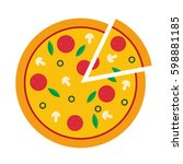 Vector Illustration Of Pizza O...