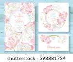 vector wedding invitations set... | Shutterstock .eps vector #598881734