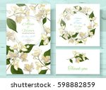 vector wedding invitations set... | Shutterstock .eps vector #598882859