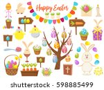 big collection of happy easter...   Shutterstock .eps vector #598885499