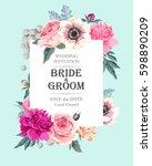Stock vector vintage wedding invitation 598890209